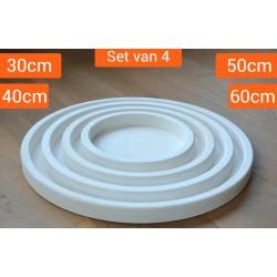Houten Dienbladen Rond Wit | Set van 4 stuks | 30/40/50/60cm | Exclusief Dienblad