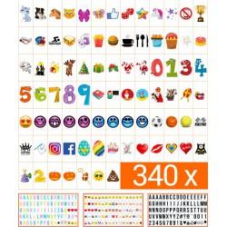 340 Stuks Lightbox Letters, Symbolen en Emoticons set | A3, A4 of A5 light box | King Mungo