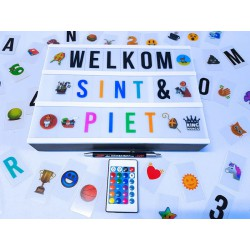 Lightbox A4 Kleur + 340 light box letters en symbolen oa kerst | met batterijen & USB | King Mungo