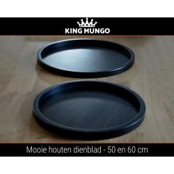 Dienblad Hout 50cm Rond Groot Zwart | Decoratieve Houten Dienbladen Plateau | King Mungo