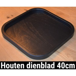 Dienblad Hout 40x40cm Vierkant Zwart | Decoratieve Houten Dienbladen | 40 cm Decoratief Dienblad Plateau | King Mungo