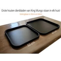 Dienblad Hout Groot 50x50cm Vierkant Zwart | Decoratieve Houten Dienbladen
