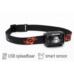 Oplaadbare LED Hoofdlamp Zwart met Bewegingssensor Ingebouwde 1200mah accu en Waterafstotend