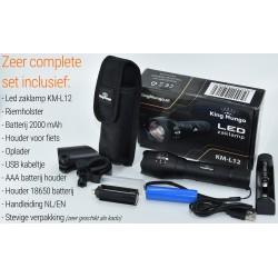 Militaire Zaklamp LED | 1000 lumen | 18650 Oplaadbaar | Oplader | Fietshouder | King Mungo KM-L12