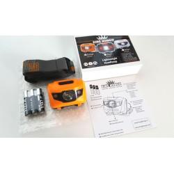Hoofdlamp oranje met felle LED + 2x rode LED - Incl. Batterijen - 160 lumen - waterafstotend en comfortabele hoofdband