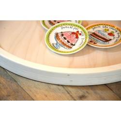 Houten Dienblad rond blank - Ø 60cm - Zeer stijlvol en landelijk karakter – King Mungo Wood Design