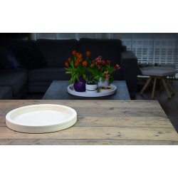 Houten Dienblad rond blank - Ø 40cm - Zeer stijlvol en landelijk karakter – King Mungo Wood Design