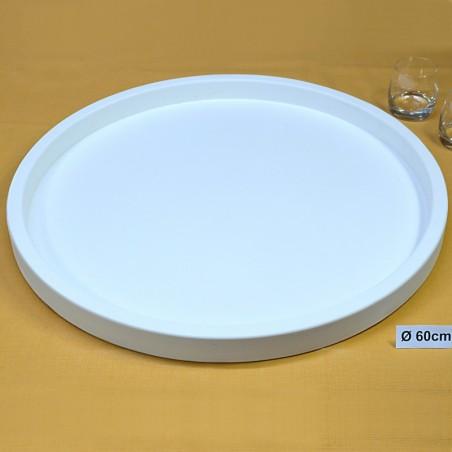 Houten Dienblad rond wit - Ø 60cm - Zeer stijlvol en landelijk karakter – King Mungo Wood Design