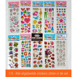 50 Vellen - 3D Foam Stickers voor Kinderen Meisjes - Hartjes Vlinders Katten - KMST008
