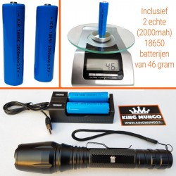 Militaire Zaklamp LED | 1000 lumen | 2x 18650 Oplaadbare Batterij | Oplader | King Mungo KM-T14