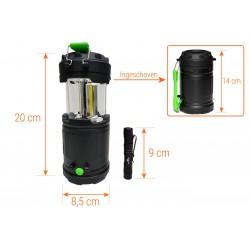Camping lamp LED | incl. 3x AA batterij | zaklamp, tentverlichting | Zwart | King Mungo KMCL003